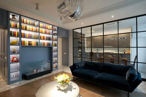 3-1-american-style-interior-wooden-panelling-glass-wall-between-kitchen-and-living-room-black-metal-frame-big-home-library-b